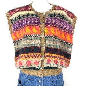 VINTAGE Knit Cardigan Sleeveless Sweater Vest Top